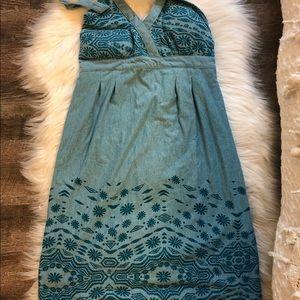 Athleta Blue boho halter dress built in bra